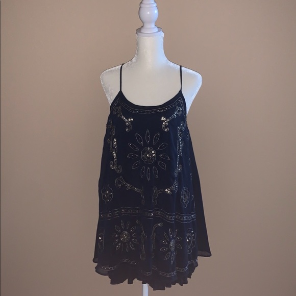 American Eagle Outfitters Navy Blue Sequin Dress